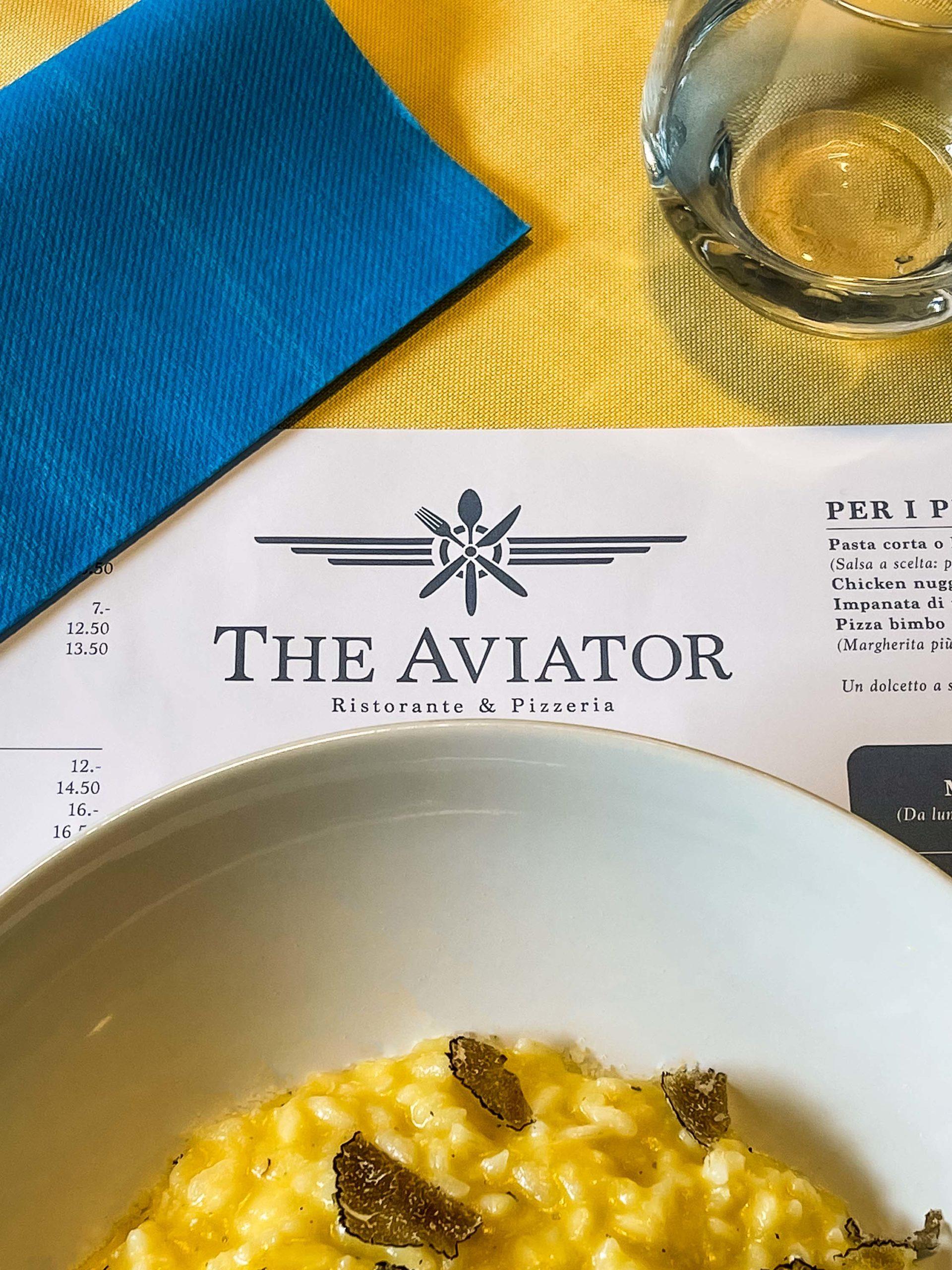 menù settimanale ristorante the aviator